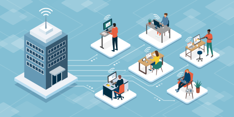 illustration of employees working outside of the office